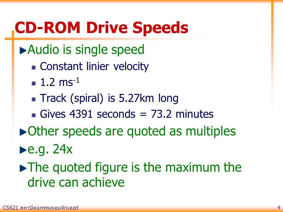 CD-ROM Drive Speeds Audio is single speed