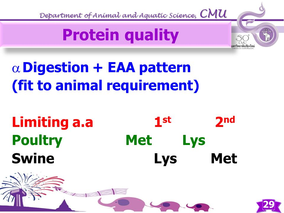 Protein quality Digestion + EAA pattern (fit to animal requirement)
