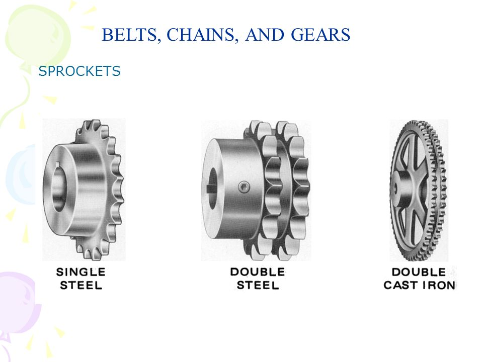 BELTS, CHAINS, AND GEARS SPROCKETS
