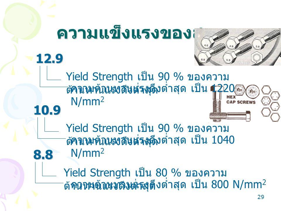 ความแข็งแรงของสกรู 12.9. Yield Strength เป็น 90 % ของความต้านทานแรงดึงต่ำสุด. ความต้านทานแรงดึงต่ำสุด เป็น 1220 N/mm2.