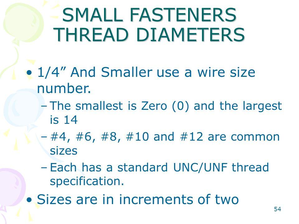 SMALL FASTENERS THREAD DIAMETERS