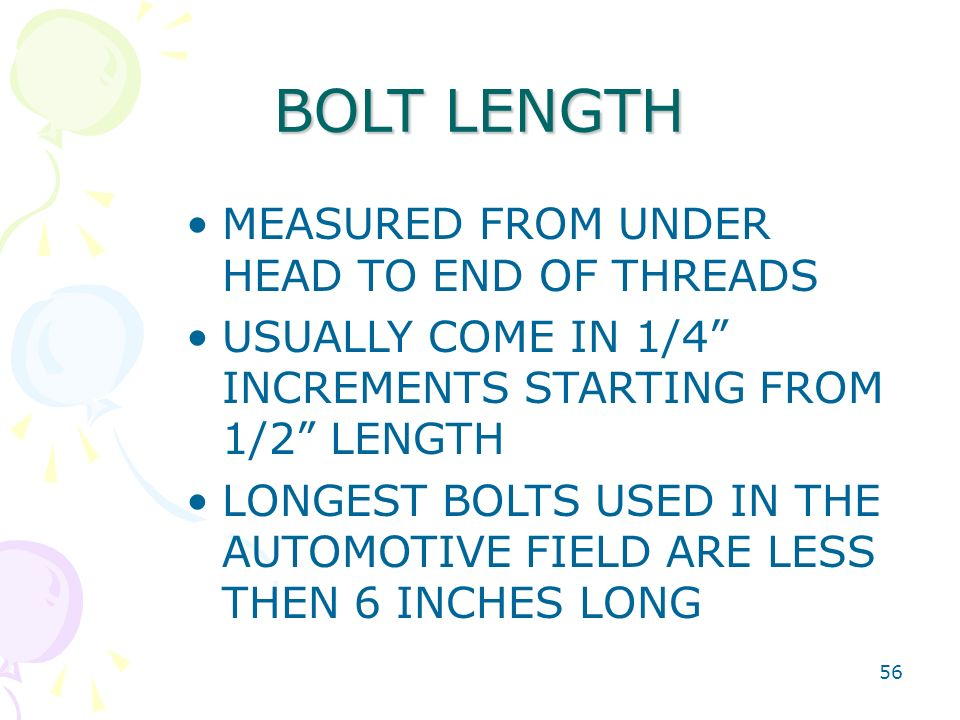 BOLT LENGTH MEASURED FROM UNDER HEAD TO END OF THREADS