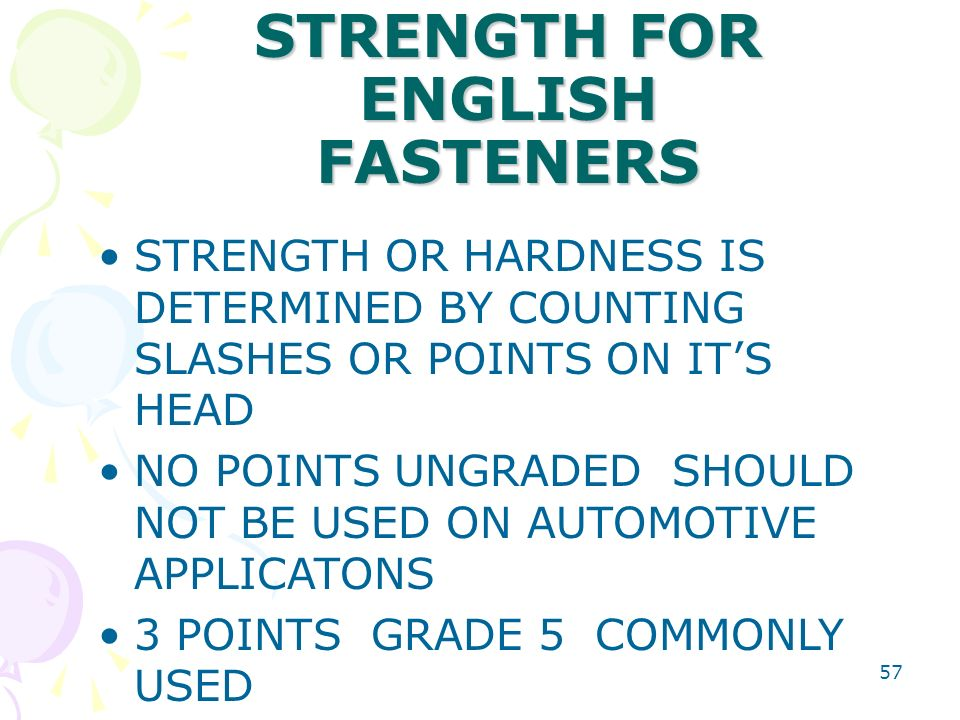 FASTENER STRENGTH FOR ENGLISH FASTENERS