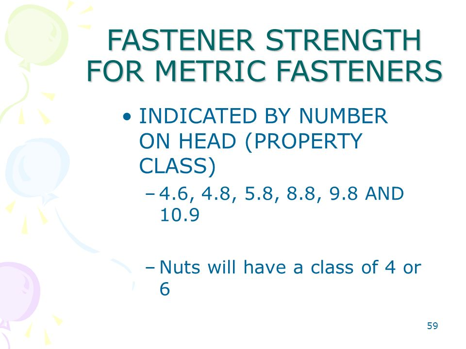 FASTENER STRENGTH FOR METRIC FASTENERS