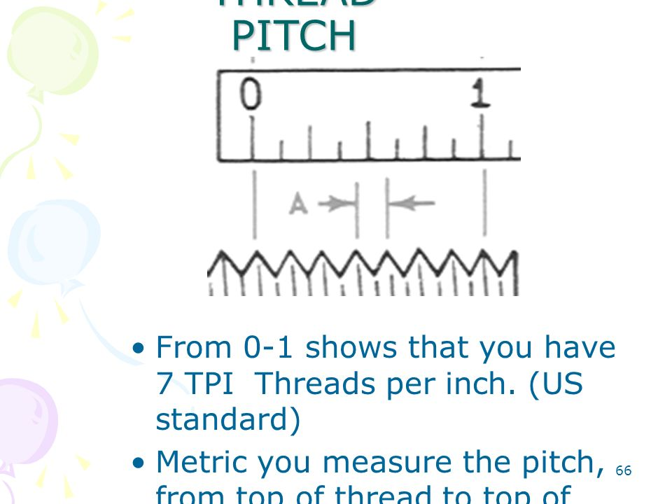 THREAD PITCH From 0-1 shows that you have 7 TPI Threads per inch. (US standard)