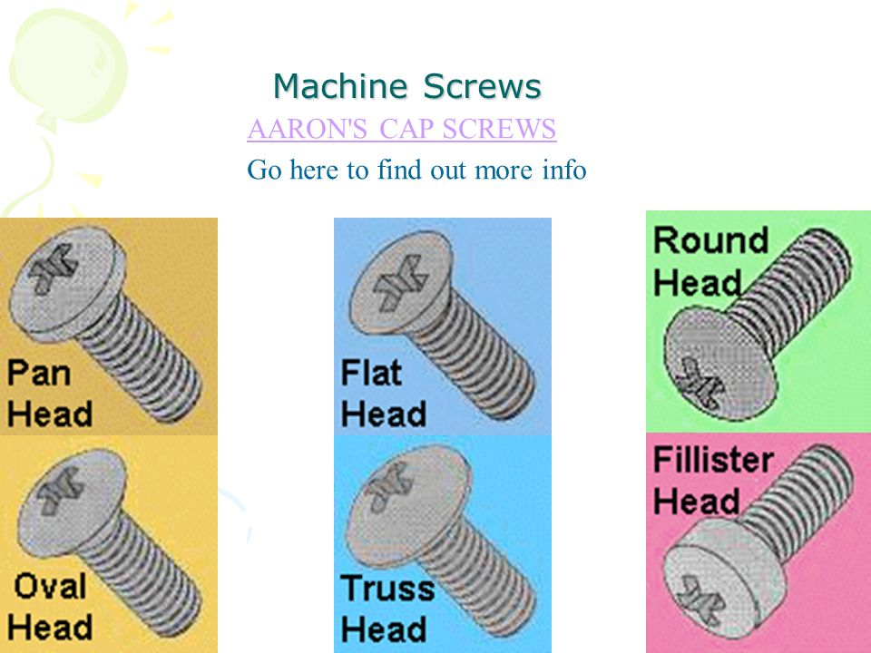 Machine Screws AARON S CAP SCREWS Go here to find out more info