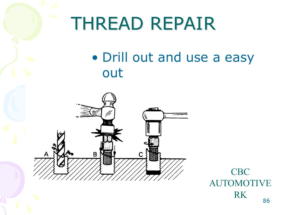 THREAD REPAIR Drill out and use a easy out CBC AUTOMOTIVE RK