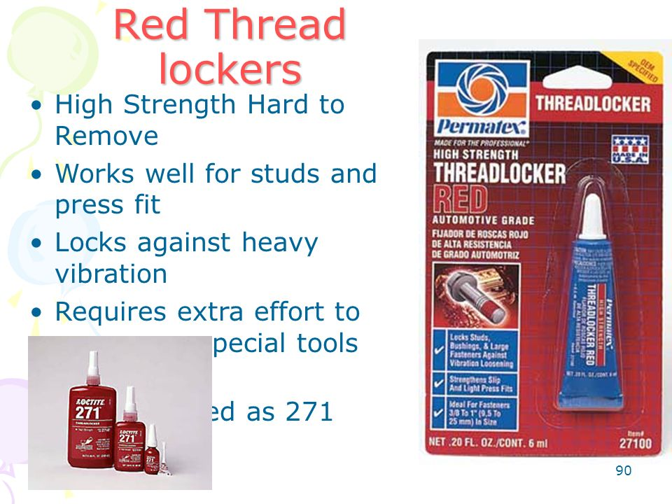 Red Thread lockers High Strength Hard to Remove