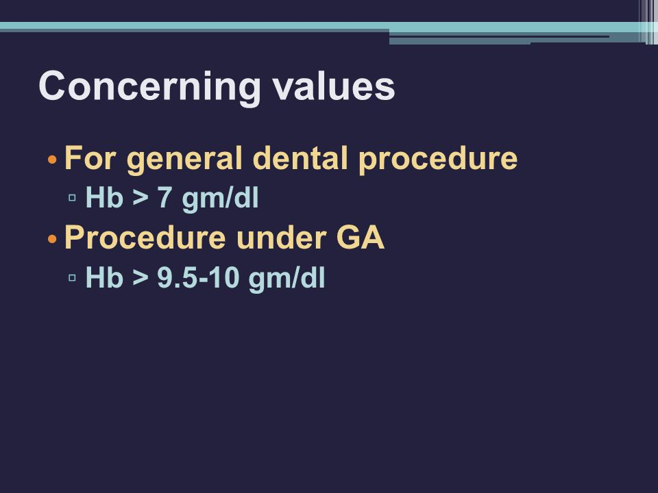 Concerning values For general dental procedure Procedure under GA