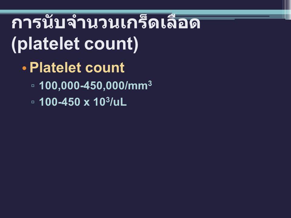 การนับจำนวนเกร็ดเลือด (platelet count)