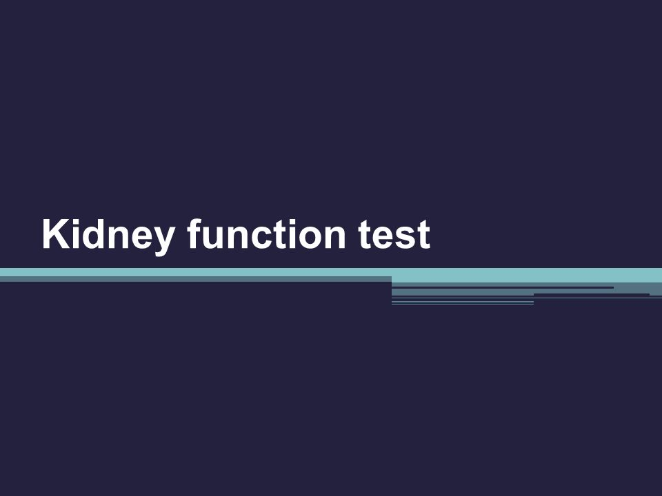Kidney function test