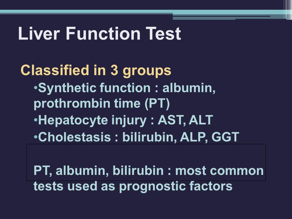 Liver Function Test Classified in 3 groups