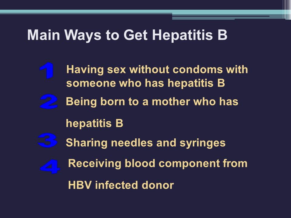 Main Ways to Get Hepatitis B