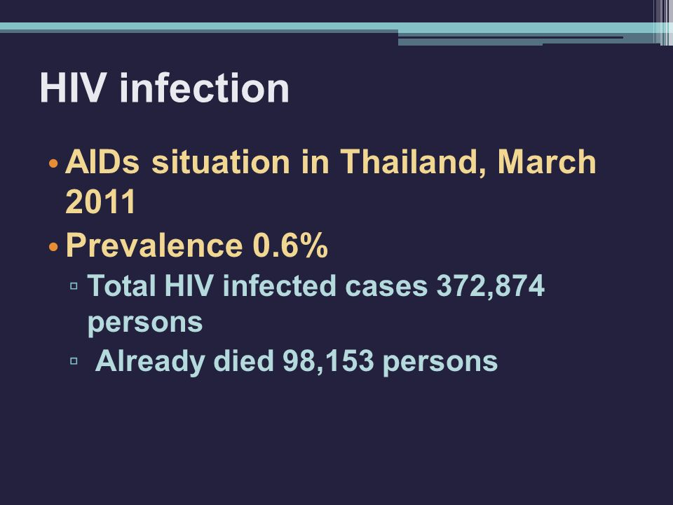 HIV infection AIDs situation in Thailand, March 2011 Prevalence 0.6%