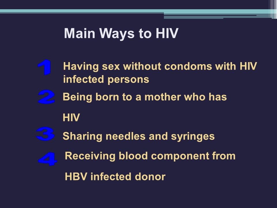 Main Ways to HIV 1 2 3 4 Being born to a mother who has HIV