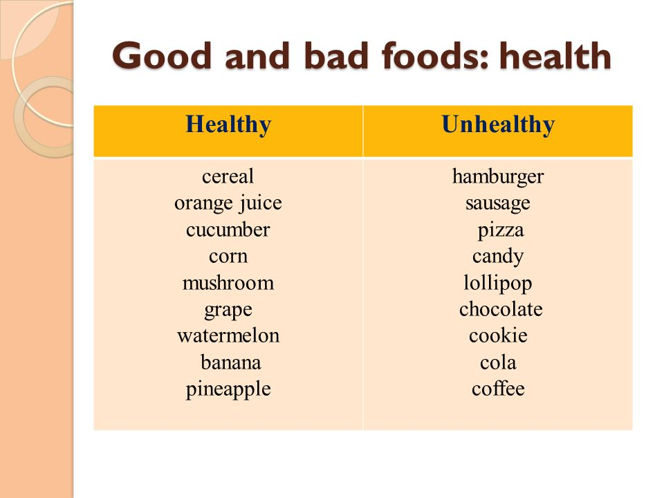 Good and bad foods: health