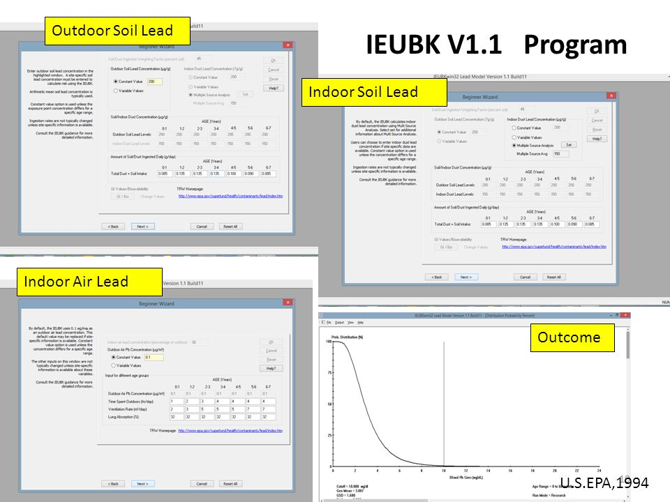 IEUBK V1.1 Program Outdoor Soil Lead Indoor Soil Lead Indoor Air Lead