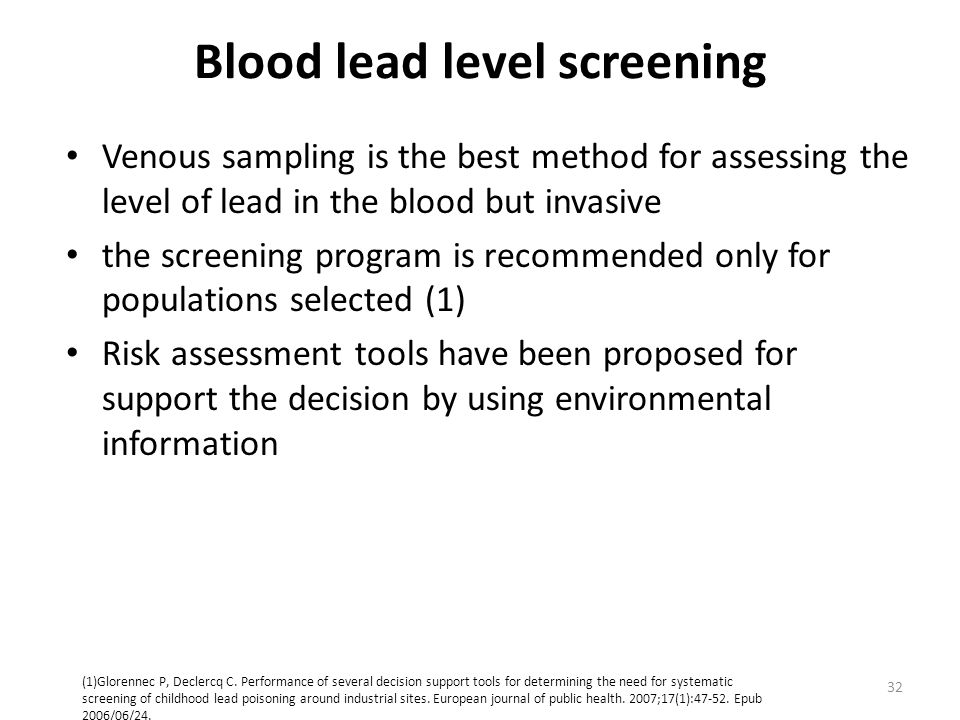 Blood lead level screening