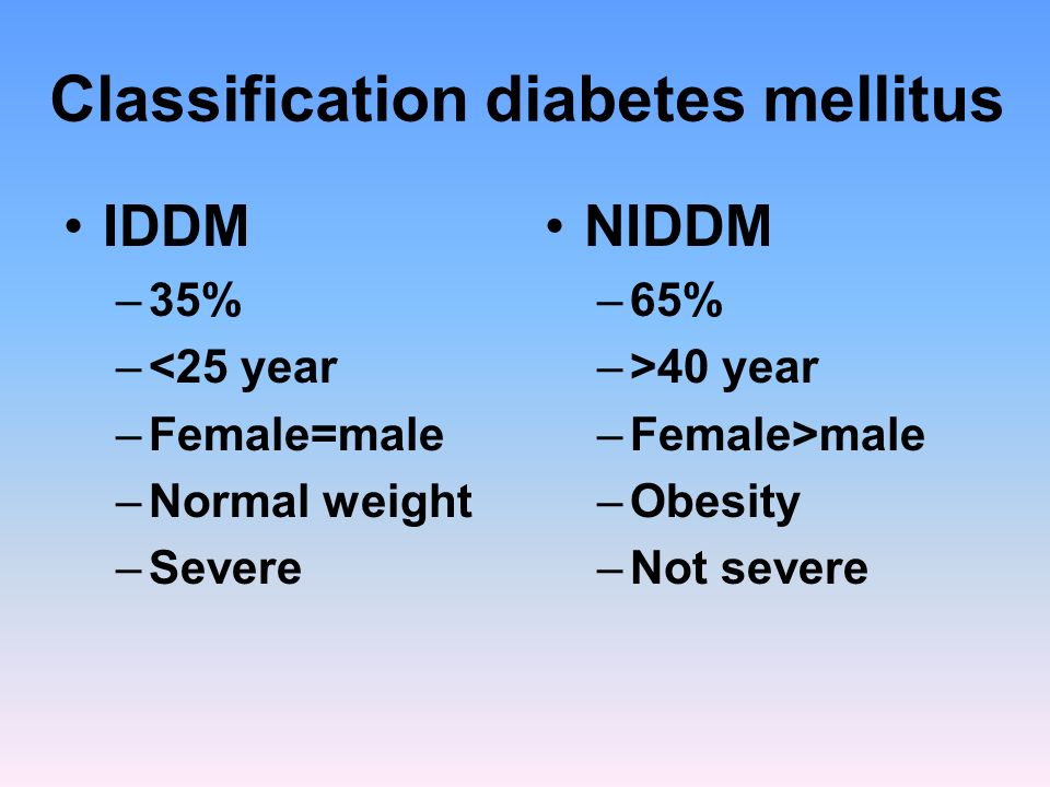 Classification diabetes mellitus