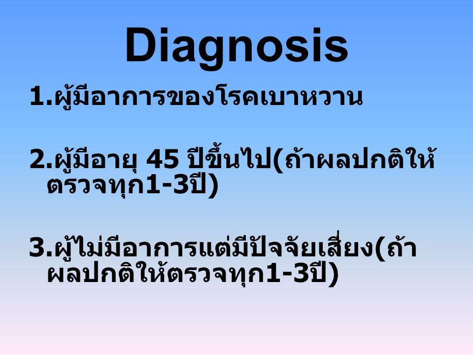Diagnosis 1.ผู้มีอาการของโรคเบาหวาน