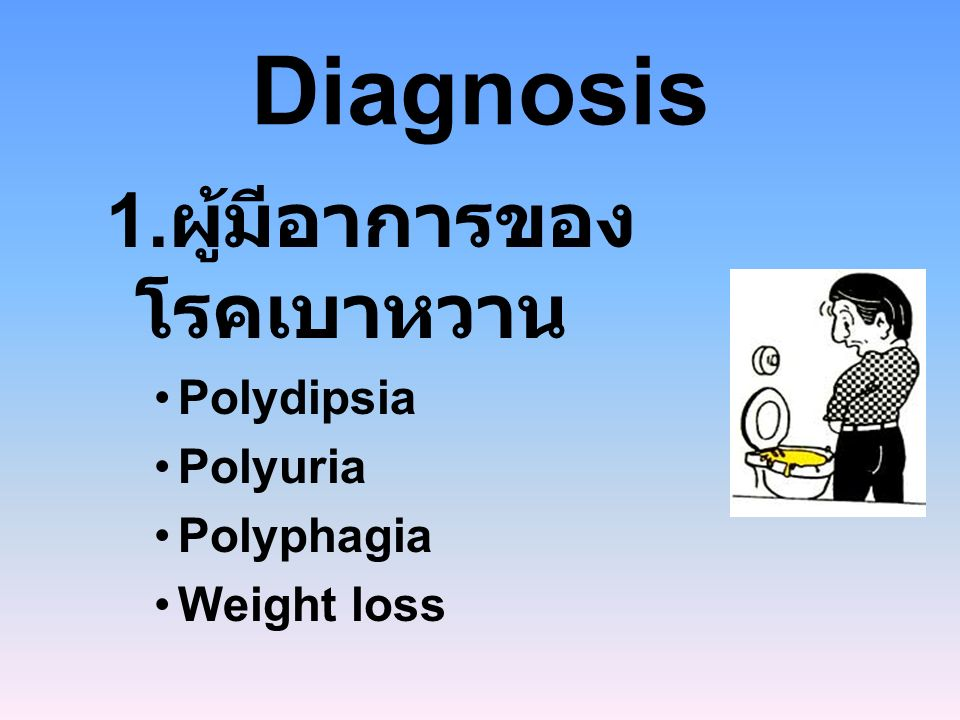 Diagnosis 1.ผู้มีอาการของโรคเบาหวาน Polydipsia Polyuria Polyphagia