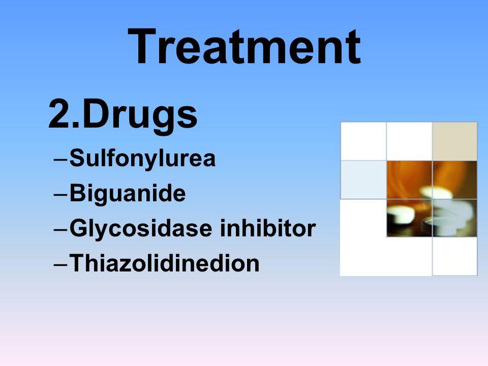 Treatment 2.Drugs Sulfonylurea Biguanide Glycosidase inhibitor