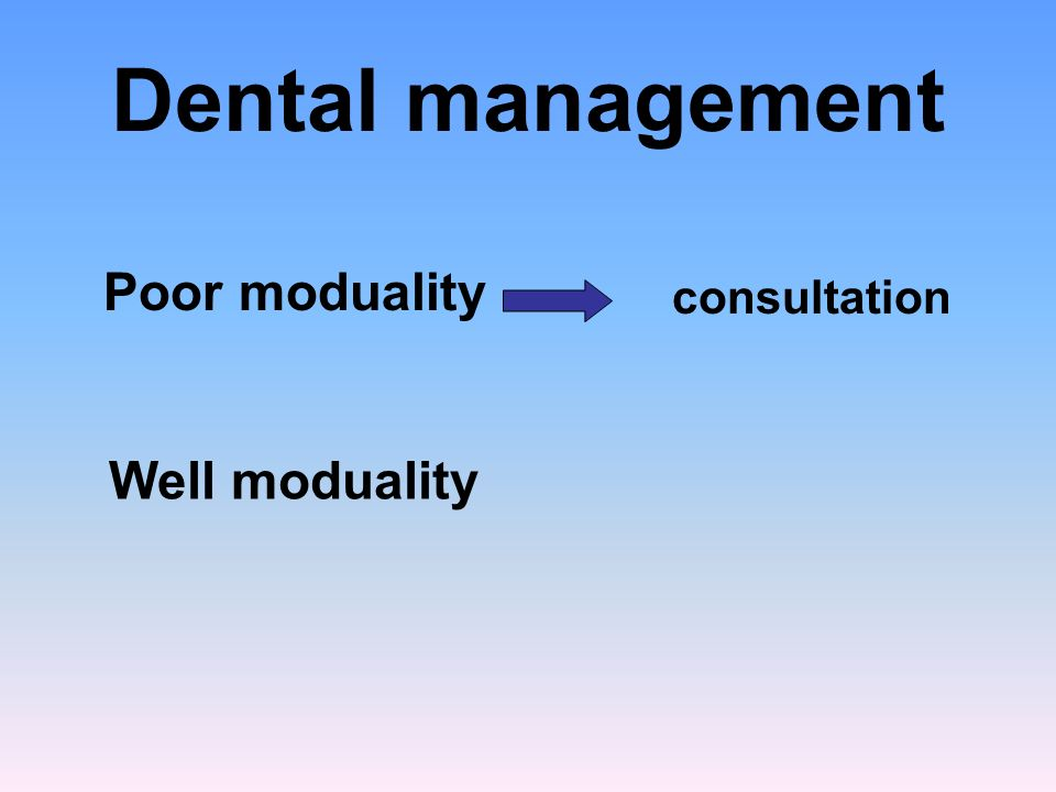 Dental management Poor moduality consultation Well moduality