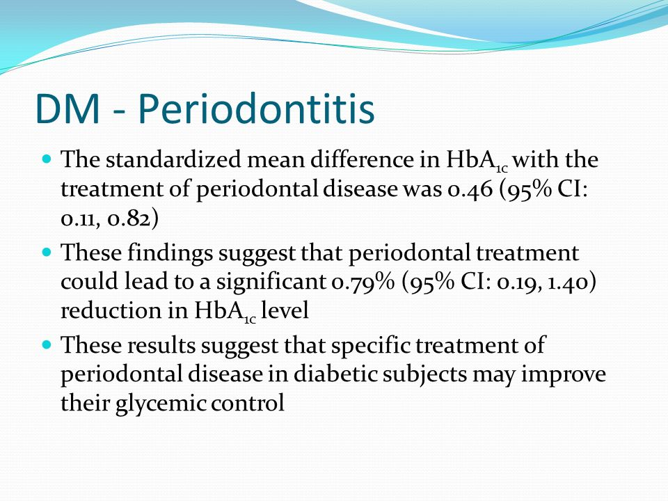 DM - Periodontitis The standardized mean difference in HbA1c with the treatment of periodontal disease was 0.46 (95% CI: 0.11, 0.82)