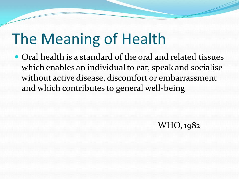 The Meaning of Health