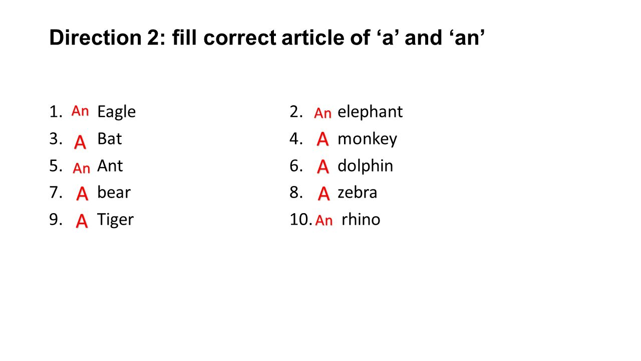 Direction 2: fill correct article of 'a' and 'an'