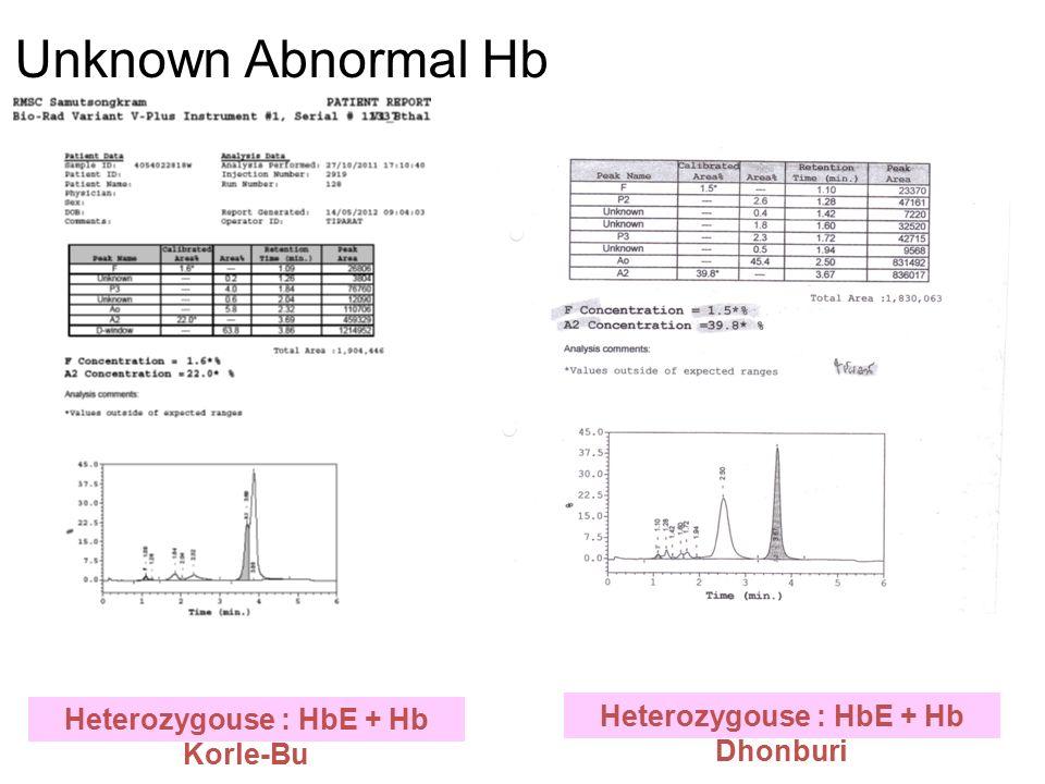 Heterozygouse : HbE + Hb Korle-Bu Heterozygouse : HbE + Hb Dhonburi