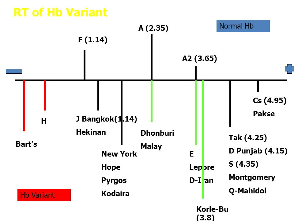 RT of Hb Variant Normal Hb A (2.35) F (1.14) A2 (3.65) Cs (4.95) Pakse