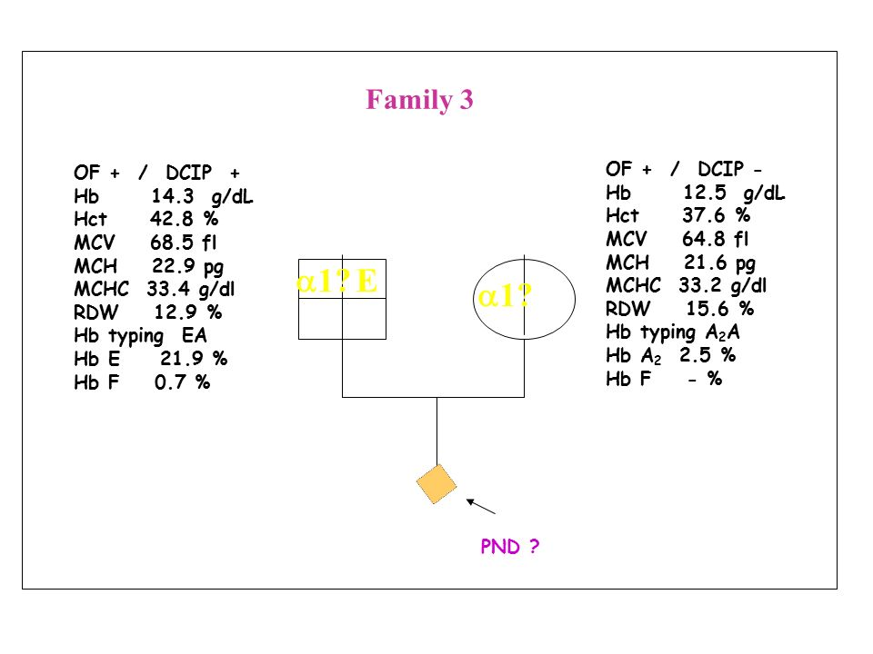 a1 E a1 Family 3 OF + / DCIP - OF + / DCIP + Hb 12.5 g/dL