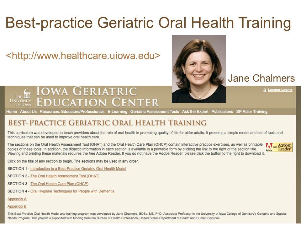 Best-practice Geriatric Oral Health Training