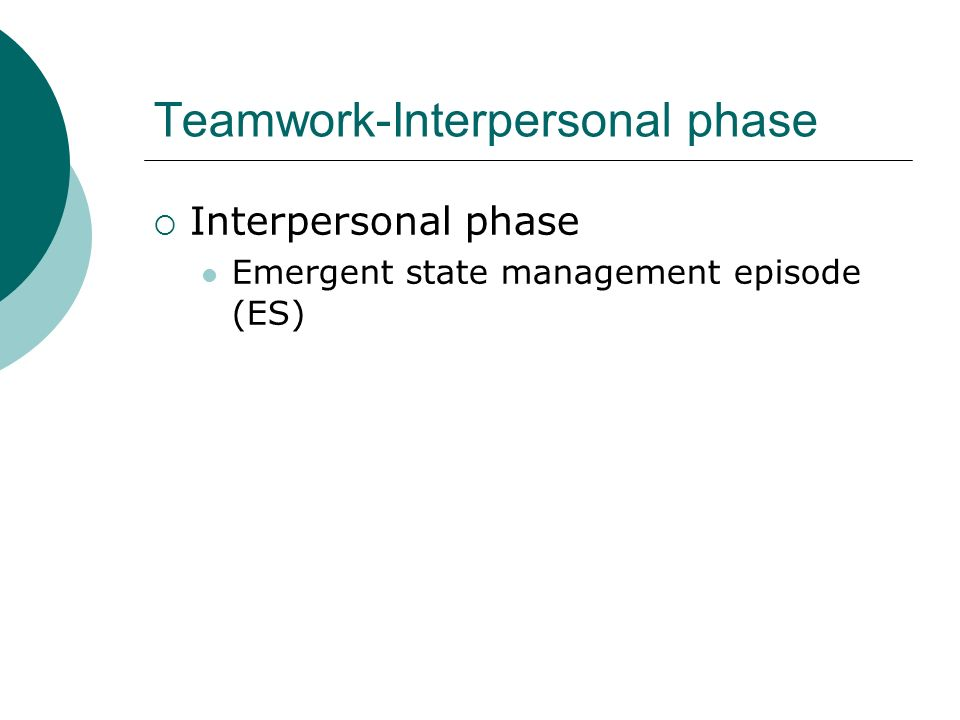 Teamwork-Interpersonal phase