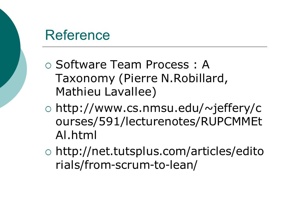 Reference Software Team Process : A Taxonomy (Pierre N.Robillard, Mathieu Lavallee)