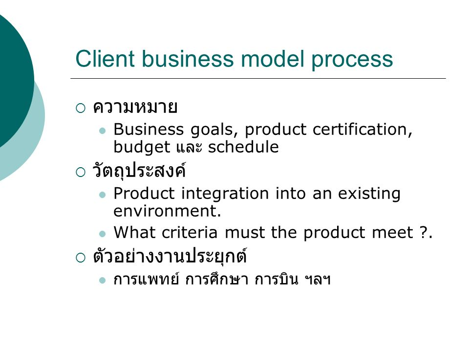 Client business model process