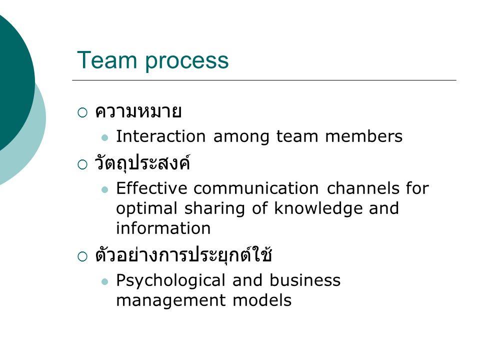 Team process ความหมาย วัตถุประสงค์ ตัวอย่างการประยุกต์ใช้