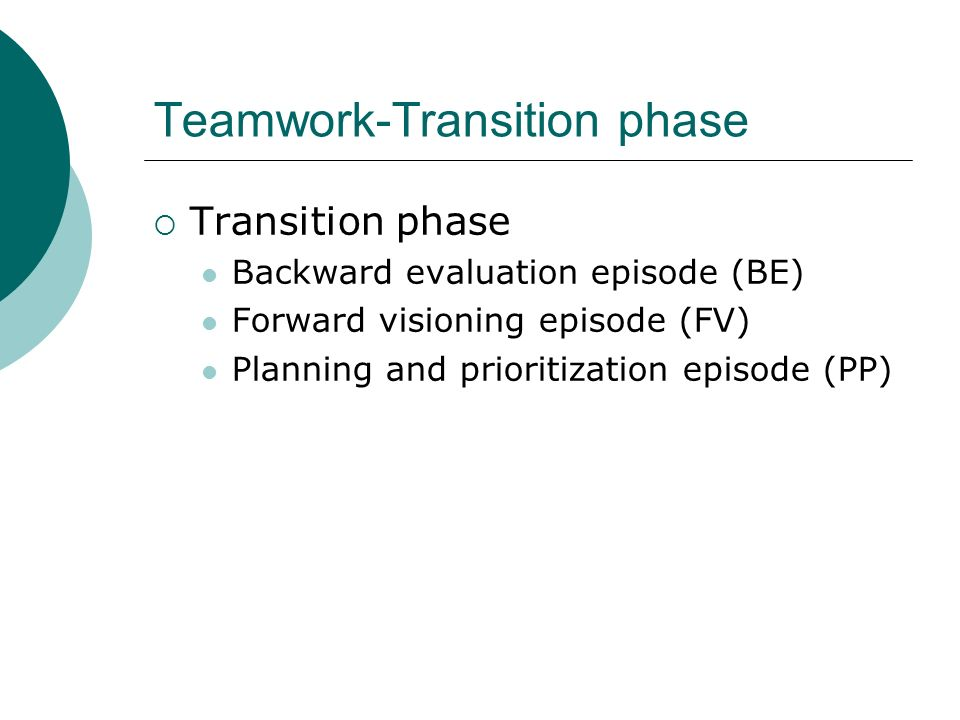 Teamwork-Transition phase