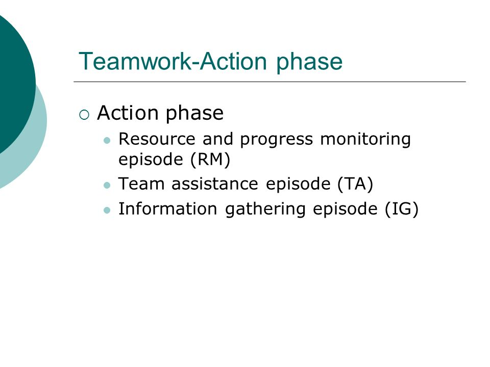 Teamwork-Action phase