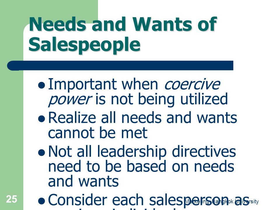 Needs and Wants of Salespeople