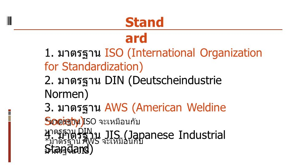 Standard 1. มาตรฐาน ISO (International Organization for Standardization) 2. มาตรฐาน DIN (Deutscheindustrie Normen)