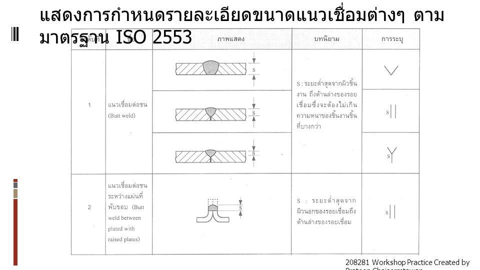 แสดงการกำหนดรายละเอียดขนาดแนวเชื่อมต่างๆ ตามมาตรฐาน ISO 2553