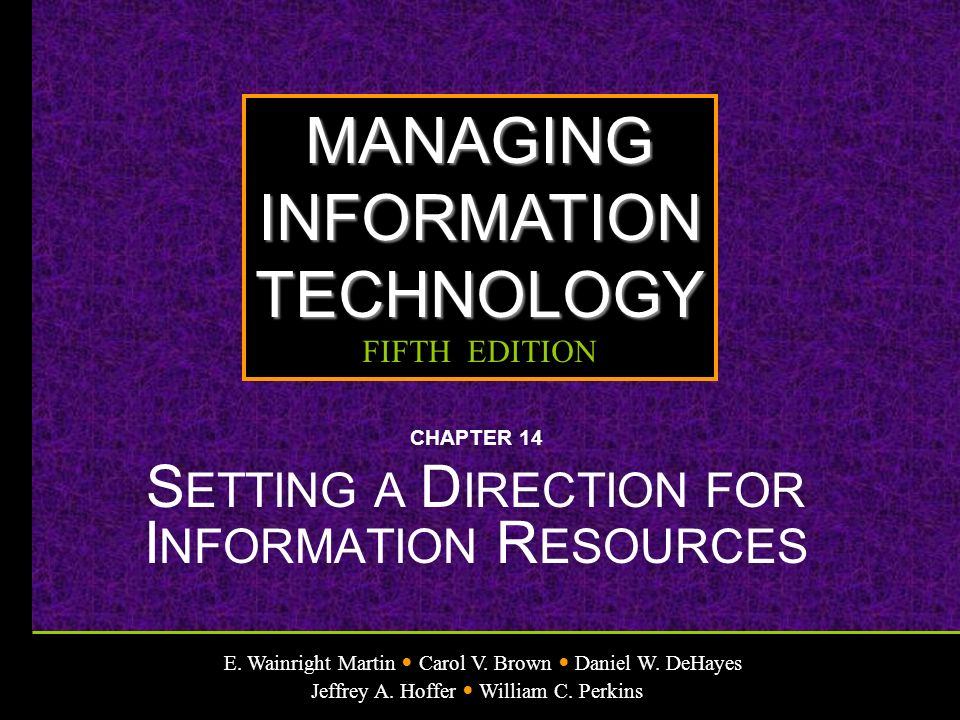CHAPTER 14 SETTING A DIRECTION FOR INFORMATION RESOURCES