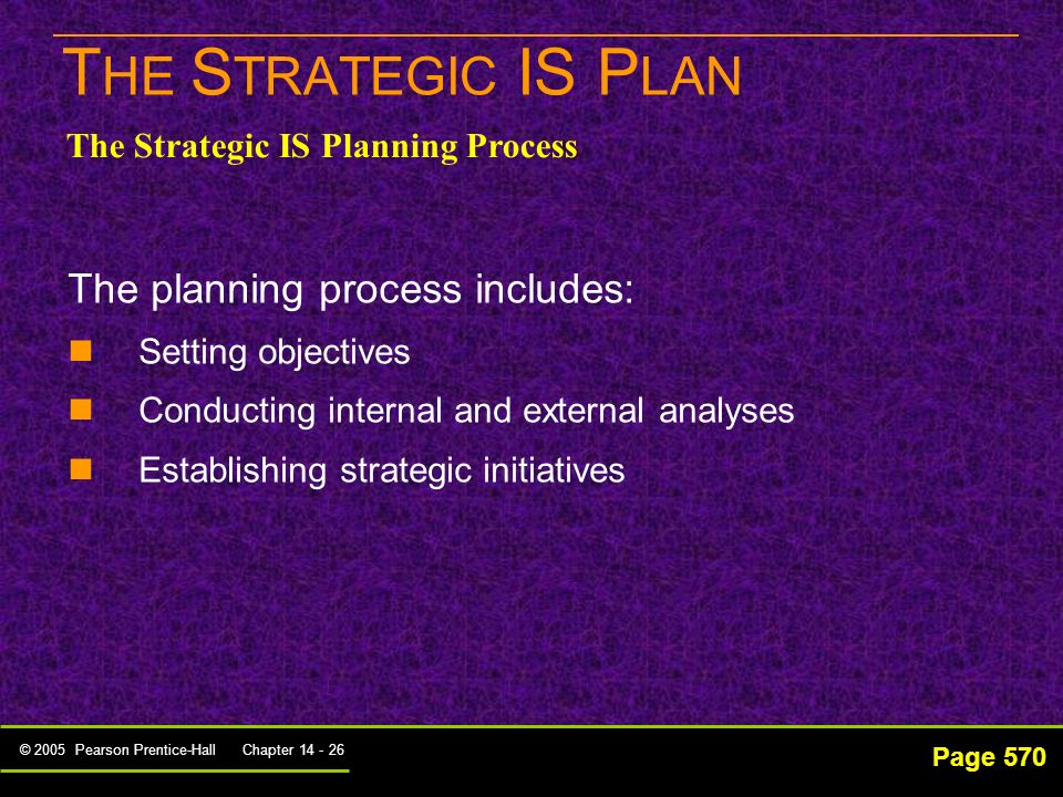 THE STRATEGIC IS PLAN The planning process includes: