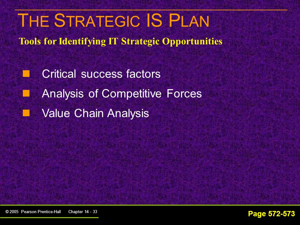 THE STRATEGIC IS PLAN Critical success factors