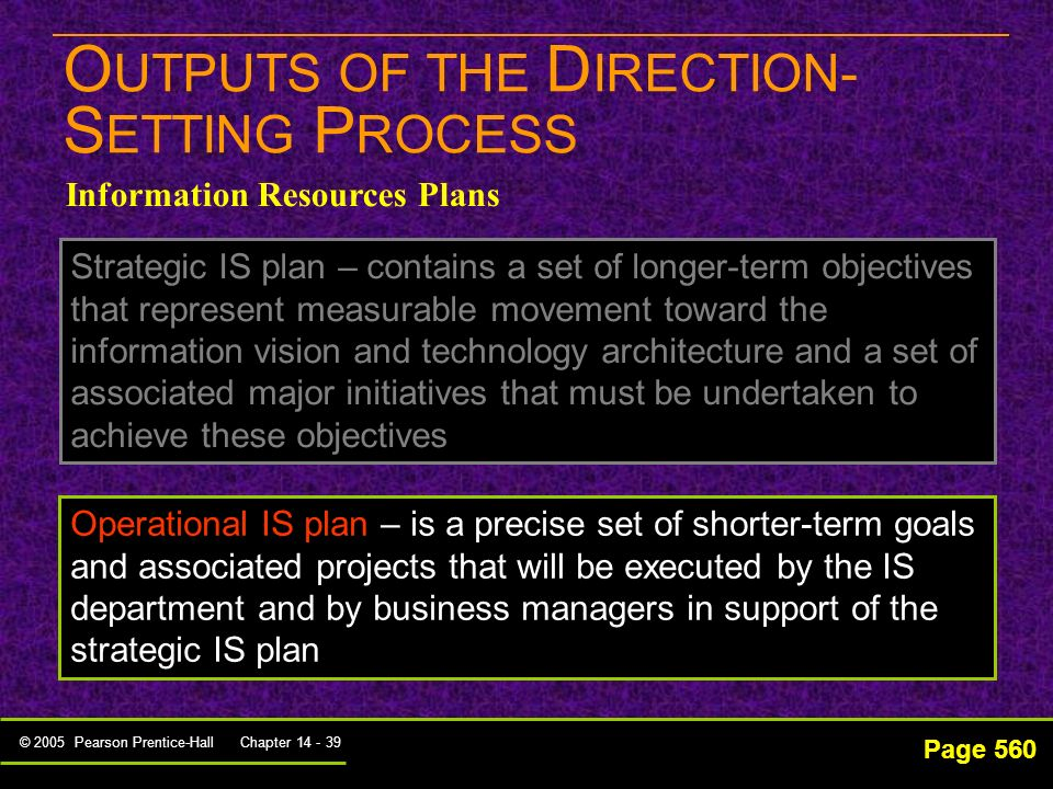 OUTPUTS OF THE DIRECTION-SETTING PROCESS