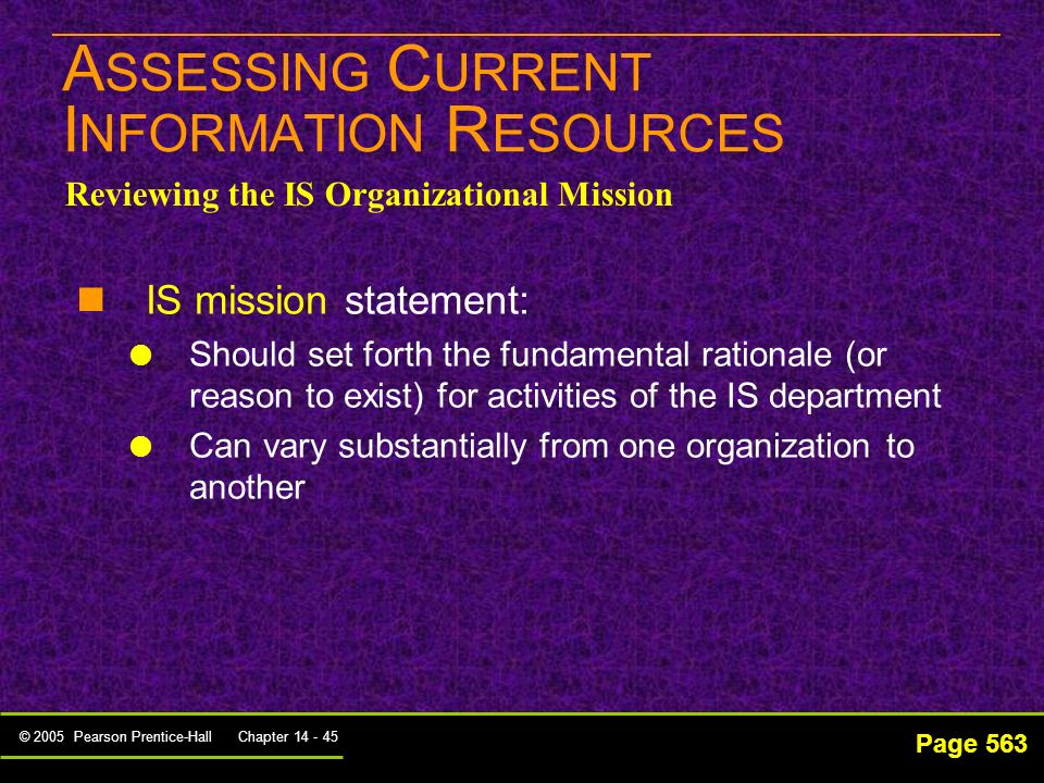 ASSESSING CURRENT INFORMATION RESOURCES