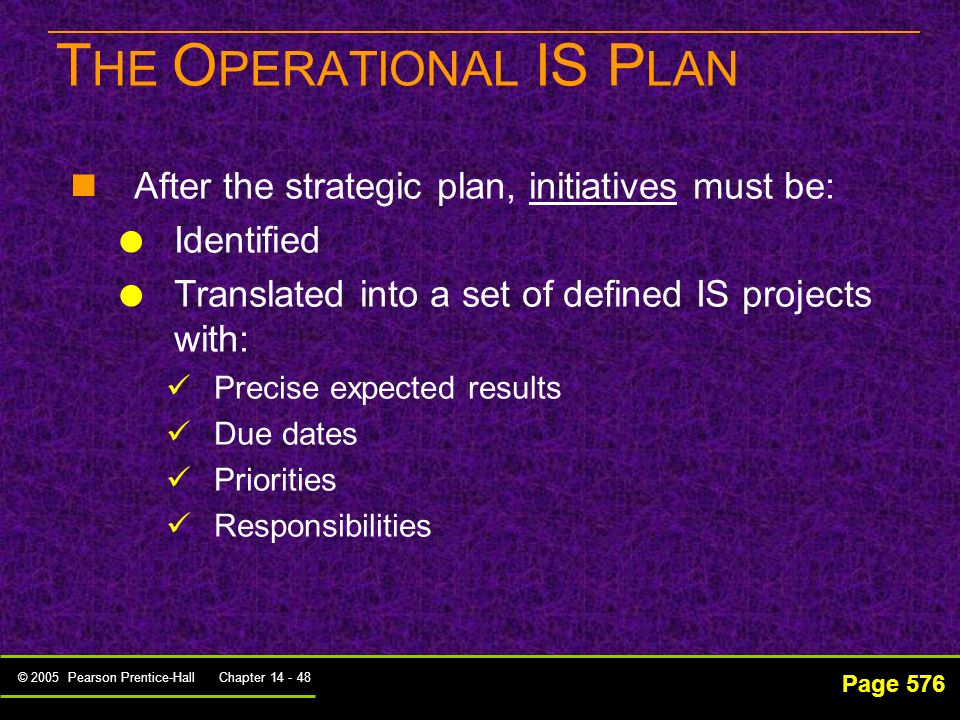 THE OPERATIONAL IS PLAN