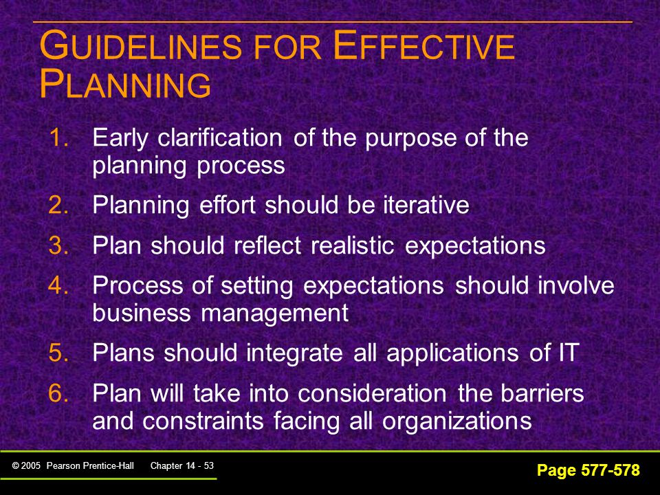 GUIDELINES FOR EFFECTIVE PLANNING
